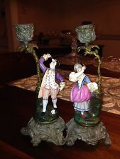 """Early 9 1/4"""" Pr French Porcelain Figural Badmitton Players Candle Holders"""