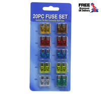 Pack of 20 Assorted Standard Blade Fuses Replacement Fuse Car Auto Van Fuse Set