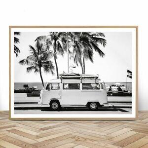 New Camper Van Beach Decor Retro Black And White California Poster And Prints