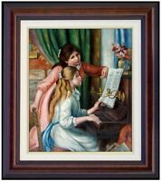 Framed, Pierre Renoir Girls at Piano Repro, Hand painted Oil Painting 20x24in