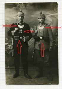 Portraitfoto 2 Soldaten Ringkragen Fernglas Ausrüstung aus Mutzig Elsass