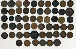 56 OLD CANADA LARGE CENTS TOKENS & TOKENS (1820-1920) SEE IMAGES > NO RESERVE