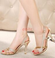 Fashion Open Toe Hollow Out Slim High Heels Womens Sandals Wedding Shoes Gold