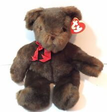 Ty Classic Teddy Bear Named Baby PJ with Tag Brown Bear Red Bow 1995 Ty Tag