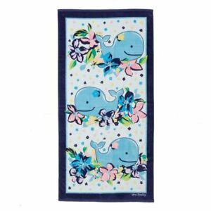 "New Vera Bradley Large 33"" x 66""  Beach Towel Marian Floral Print w Whale Tag"