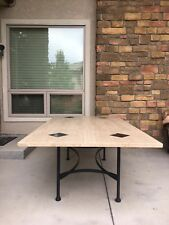 O.W. Lee Travertine Outdoor Dining Table With Granite Insets