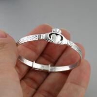 Baby Toddler Irish Claddagh Bangle Bracelet - Adjustable 925 Sterling Silver NEW