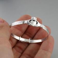 Baby Toddler Irish Claddagh Bangle Bracelet - Adjustable 925 Sterling Silver