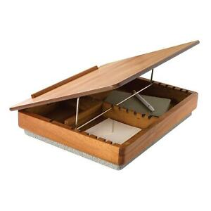 """Wood Lap Desk Easel Top with Storage Portable Desk Laptop Computer Stand 17 3/4"""""""