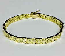 18k  Solid Yellow Gold Men's Handmade Nugget Bracelet 6 mm 22 grams 8""