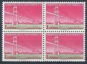 El Salvador 1954 Sc# 652 Coastal bridge block 4 MNH