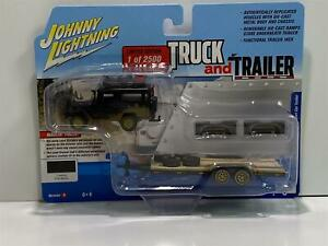 1980 Toyota Land Cruiser with Trailer Flat Black 1:64 Johnny Lightning JLBT013B