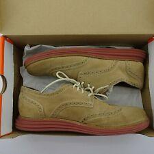 Mens Cole Haan Lunargrand Suede Wingtip Oxfords Shoes Size 8 8M Tan Golf Casual