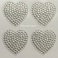 12 x 25mm Filled Hearts Clear Rhinestone Diamante Stick on Self Adhesive GEMS