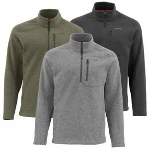 SIMMS Rivershed Sweater Q Zip: Smoke S, Loden XXL