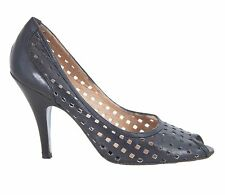 Jean-Michel Cazabat Black Perforated Leather Peep Toe Pumps Size 36