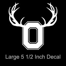 Ohio State Block O Deer Antlers White Vinyl Decal/Sticker Car Truck Hunting
