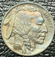 1936-S INDIAN HEAD BUFFALO NICKEL BU UNC MAGNIFICENT TONED COLOR GEM  (MR)