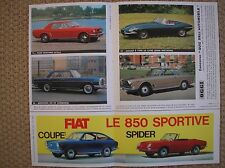 FIAT 850 COUPE SPIDER PUBBLICITA ADVERTISING 1965 CARD FORD MUSTANG JAGUAR E