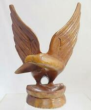 """Hand Carved Wooden Eagle Change Bowl 9.75"""" tall Butternut Signed by Artist"""