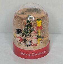"1991 Vintage 4"" Plastic Merry Christmas Snow Globe Dome Snowman Carolers Tree"
