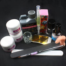 Nail Art Set Care Starter Kit Acrylic Powder Liquid UV GEL Pen Tips SET US Sel