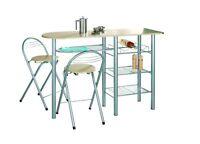 Modern Sturdy Breakfast Bar & Dining Tables Kitchen White/Oak/Black Steel Legs