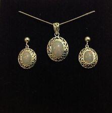 Sterling Silver Ornate Celtic Oval Gilson Fire Opal Pendant & drop Earrings Set