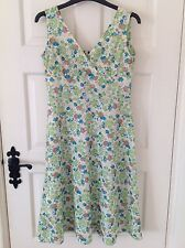 Vintage 1960s Floral Tea Dress UK8/10 Blue Green Scooter Mod 60s Retro Party 40s