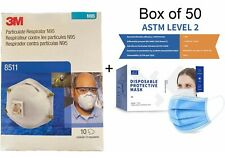 3M 8511 N95 Protective Disposable NIOSH Respirator 10 PACK & 50 JCJZ Face Masks