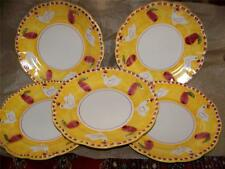 "5 Hand Made/Painted Pottery Plates, Italy, Chicken, Yellow Red Green White, 10""D"