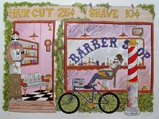 """TOM WOOD """"BARBER SHOP"""" Hand Signed Limited Edition Lithograph"""