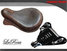 "La Rosa 15"" Rustic Brown Leather HD Springer Seat + 2007-09 Sportster Mount Kit"