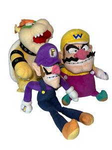 Nintendo Super Mario Bros Plush Wario & Waluigi & Bowser Lot Of 3