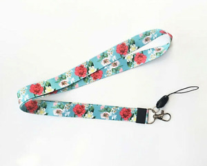 Green / Blue Floral Flower Lanyard Daisy Red Poppy ID Badge Neck Strap Holder