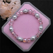 Wholesale Fashion Jewelry 8mm Pearl 8mm Crystal Beads Stretch Bracelet FR02