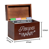 Recipe Box with 80 Recipes Cards 8 Recipe Divider Organizer Vintage Wood Holder