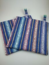Set of 2 blue striped handmade hot pads/pot holders, primary colors