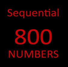 800 Toll Free Numbers -  SEQUENTIAL  - 800-390-6972 and 800-390-6973