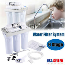 6 Stage Reverse Osmosis RO Drinking Water Filter System Home Purifier w/ Faucet