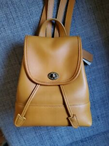 COACH Vintage Daypack Leather Backpack Bag Yellow 9960 USA FedEx Shipping