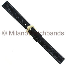 13mm Hirsch Crocograin Black Genuine Leather Semi-Gloss Ladies Watch Band