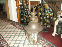 Vintage Barn Farm Lamp Beveled Glass Very Large 3 Light Interior Country Decor
