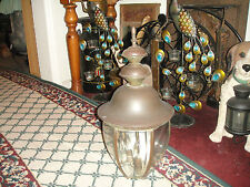 Vintage Barn Farm Lamp-Beveled Glass-Very Large-3 Light Interior-Country Decor