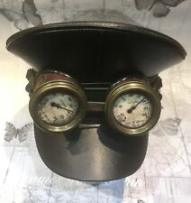 Military Style Black Leather Look Hat With Rustic goggles Cogs  Dial Insert 59cm