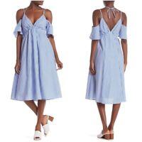 "Line + Dot Women's NWT Blue White ""Skylar"" Striped Cold Shoulder Dress Large"