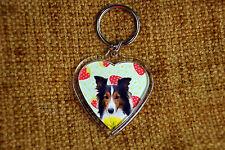 Sheltie Dog Gift Keyring Dog Key Ring heart Birthday gift Shetland Sheepdog