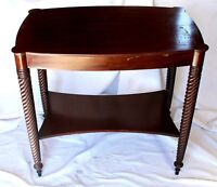 Vintage Mahogany French Barley Twist Two-Tier Turtle-Top Table