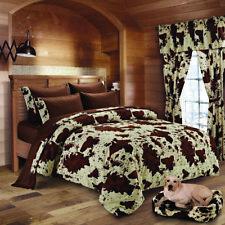 Twin Size 4 pc Chocolate Rodeo Cow Print Comforter,Sheet, & Pillowcase Set