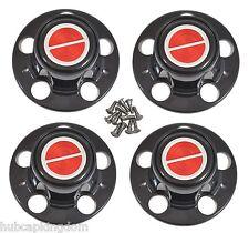 BRONCO II RANGER EXPLORER Wheel BLACK w/ RED Center Hub Cap Set NEW